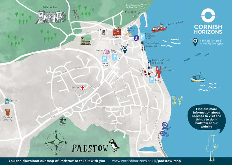 hand drawn map of Padstow