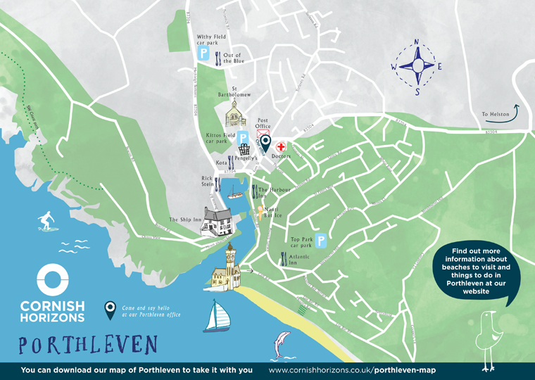 Hand drawn map of Porthleven