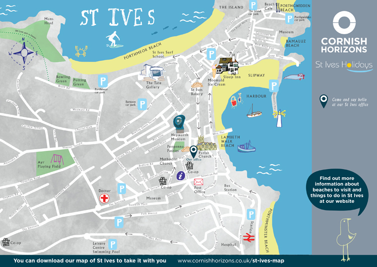 St Ives map hand illustrated