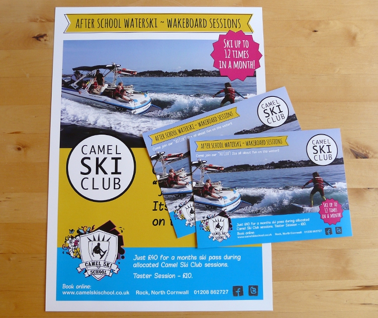 Camel Ski School poster and flyers