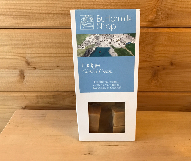 Buttermilk fudge packaging with our illustration of Port Isaac