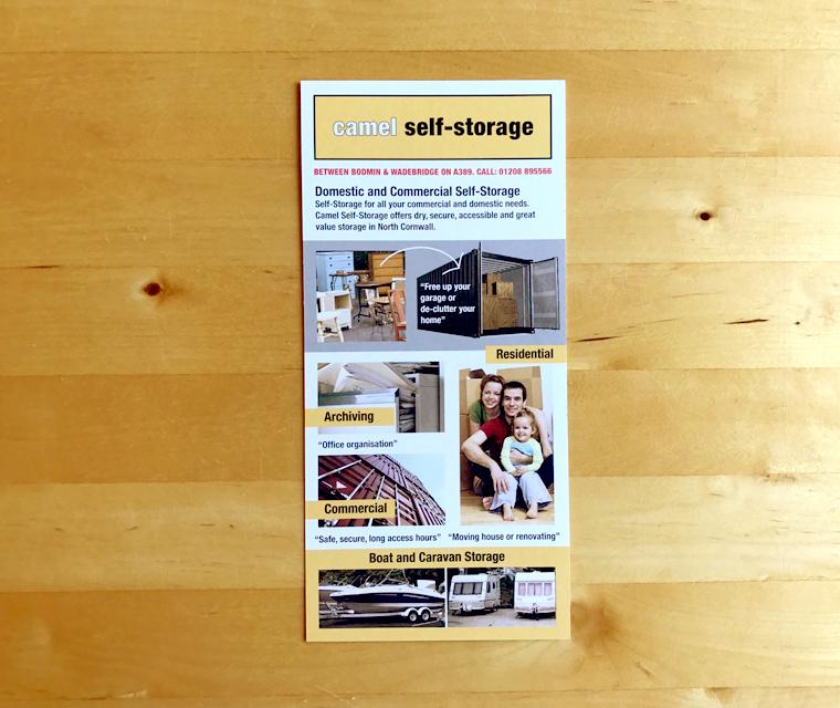 DL Leaflet designed for Camel Self Storage