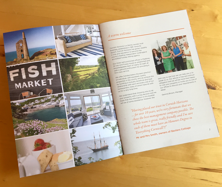 Cornish Horizons brochure first spread design