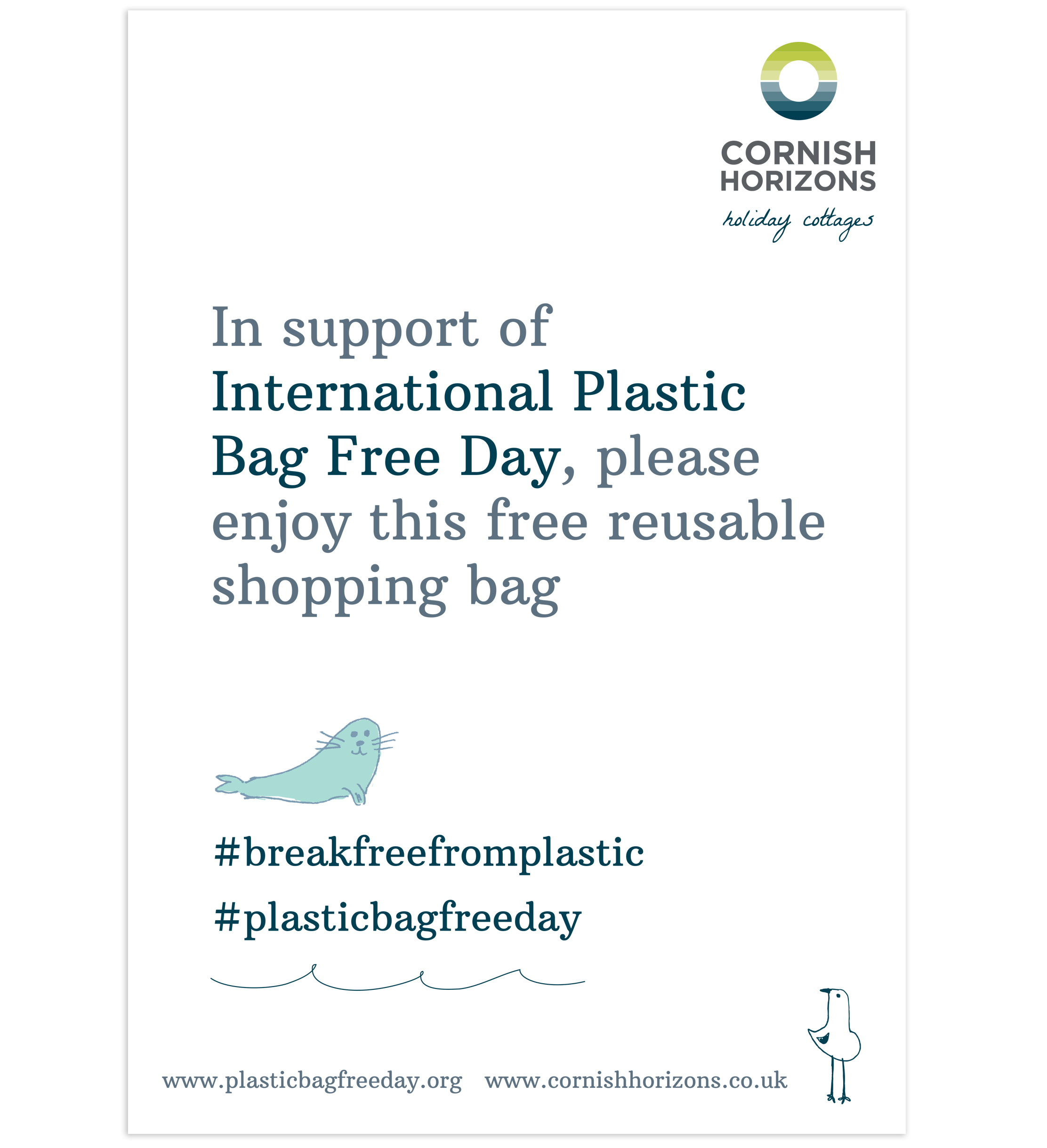 Plastic Bag Free Day advertising by Pickle Design for Cornish Horizons