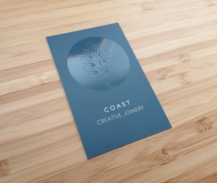 Coast Creative Joinery business cards with clear spot varnish