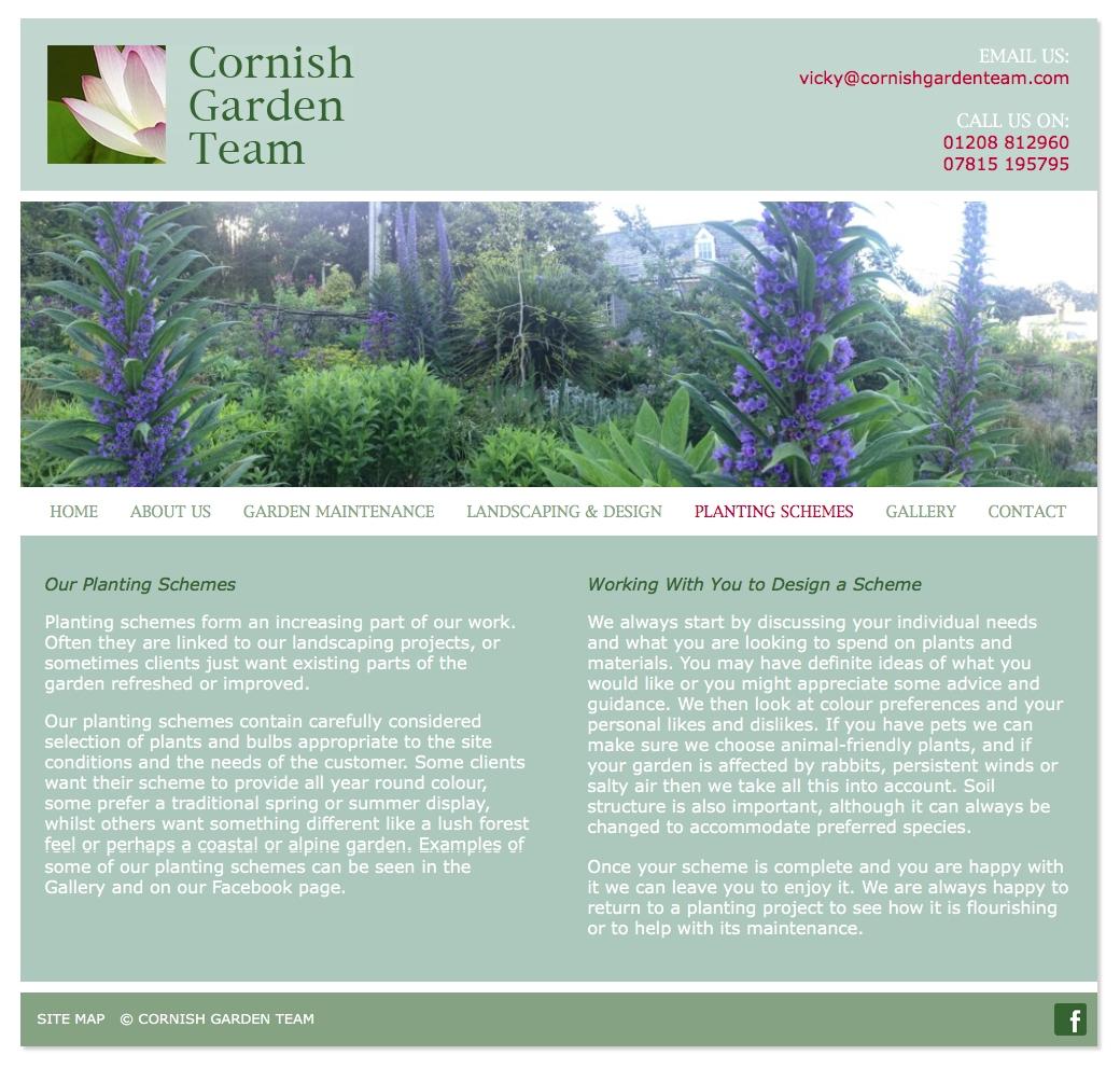 Cornish Garden Team web design