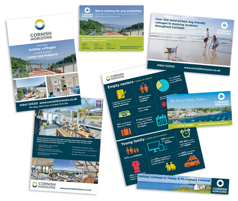 The adverts, leaflets, flyers and printed promotions Pickle Design have created for Cornish Horizons