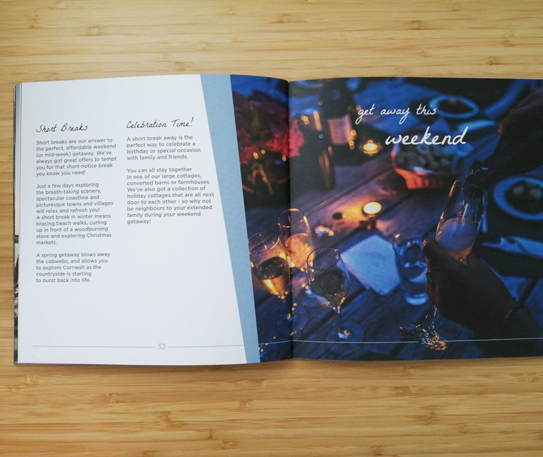 Inside spread of the square format brochure for Cornish Horizons