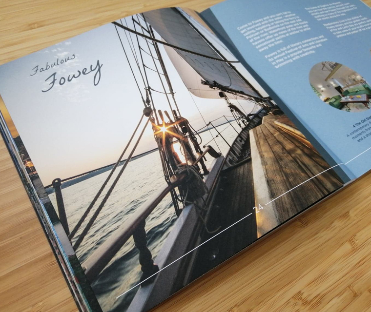 Close up of a spread from the lifestyle brochure for Cornish Horizons