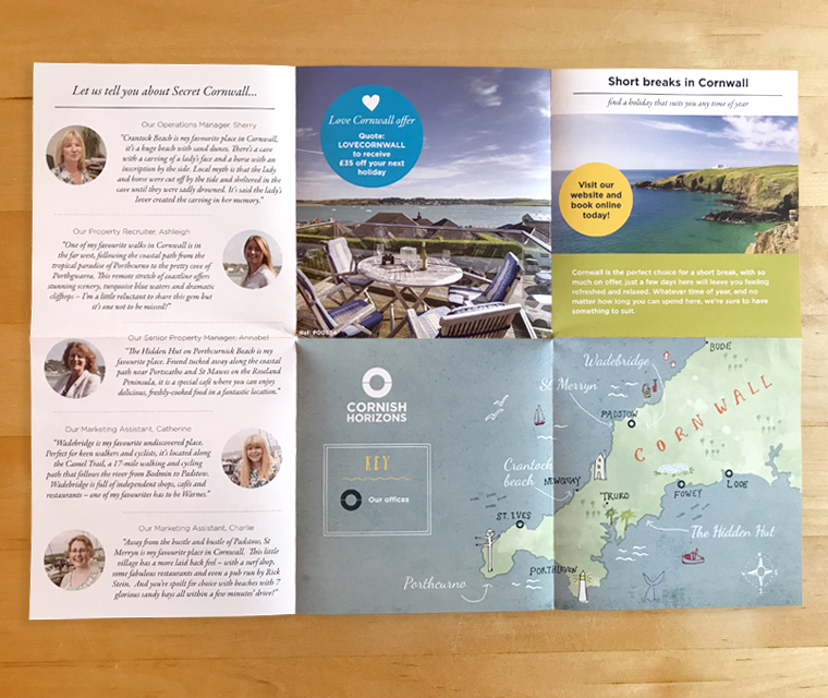 Fold out brochure with illustrated map and secret Cornwall for Cornish Horizons by Pickle Design