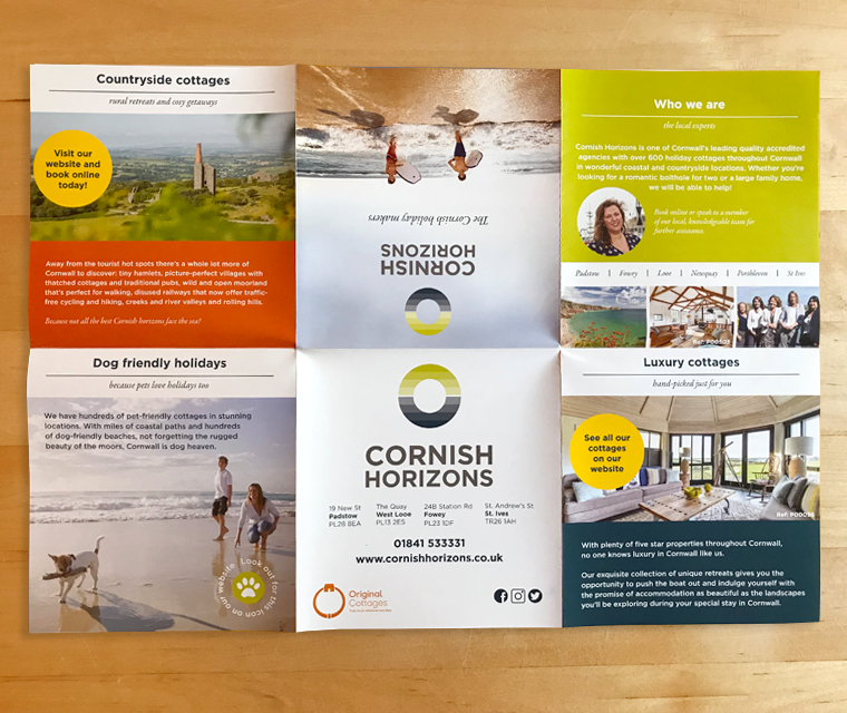 Fold out brochure for Cornish Horizons by Pickle Design