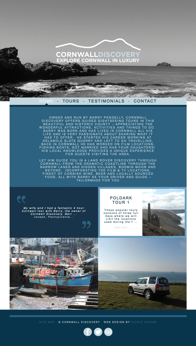 Tours of Cornwall website