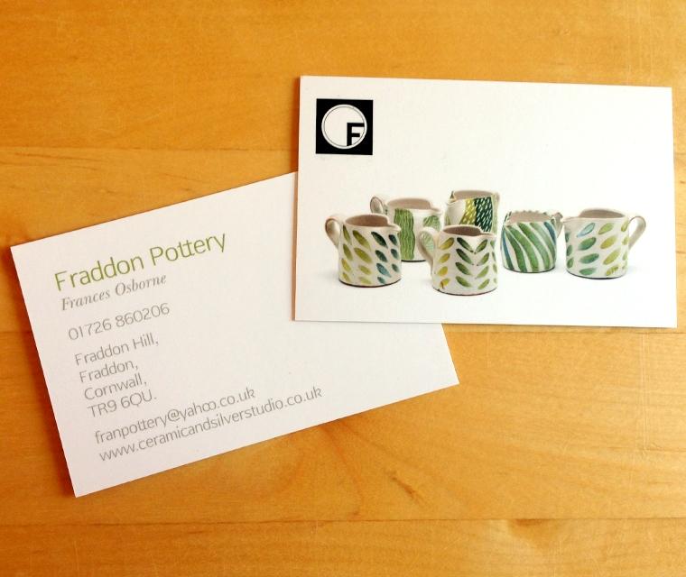 Braddon Pottery Business cards
