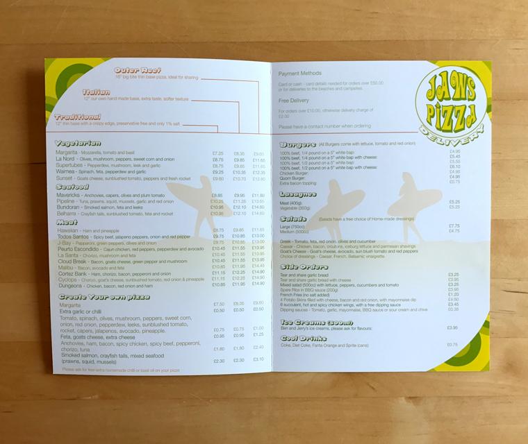 Jaws Pizza menu inside