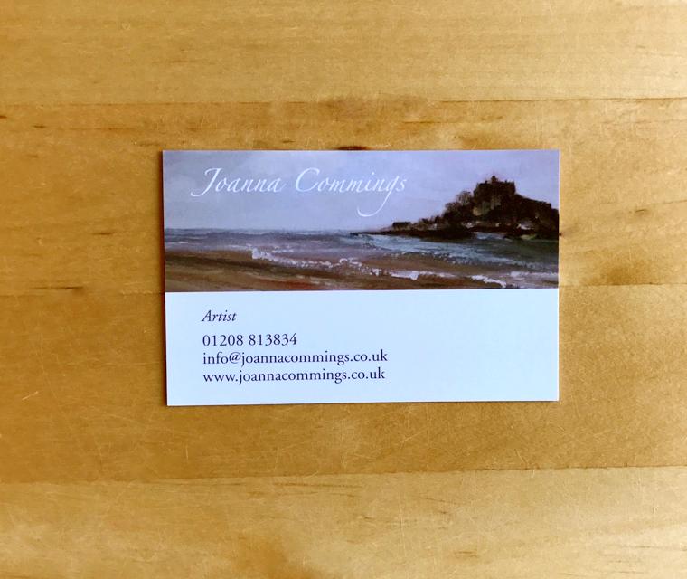 Business card design for Joanna Commings the artist