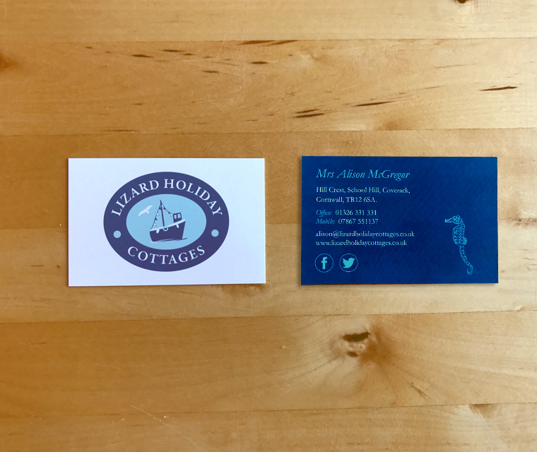 business card design for Lizard holiday cottages