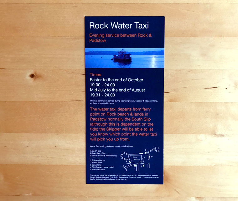 Rock Water Taxi leaflet