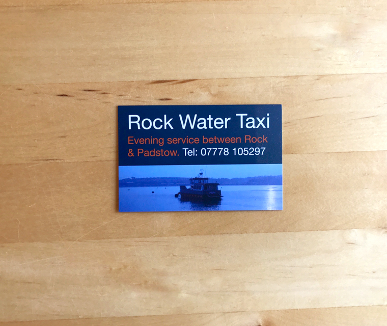 Rock Water Taxi business card