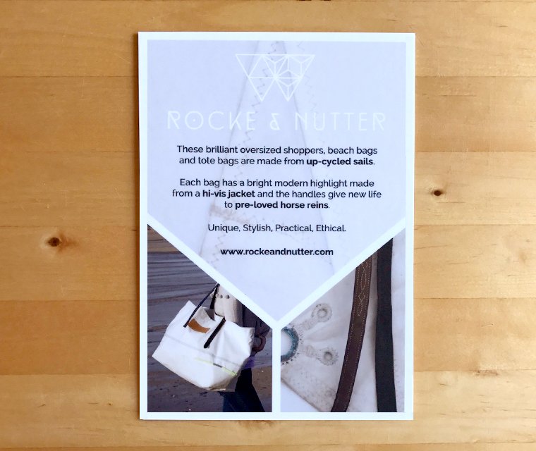 Rocke and Nutter story cards that stand up for boutiques