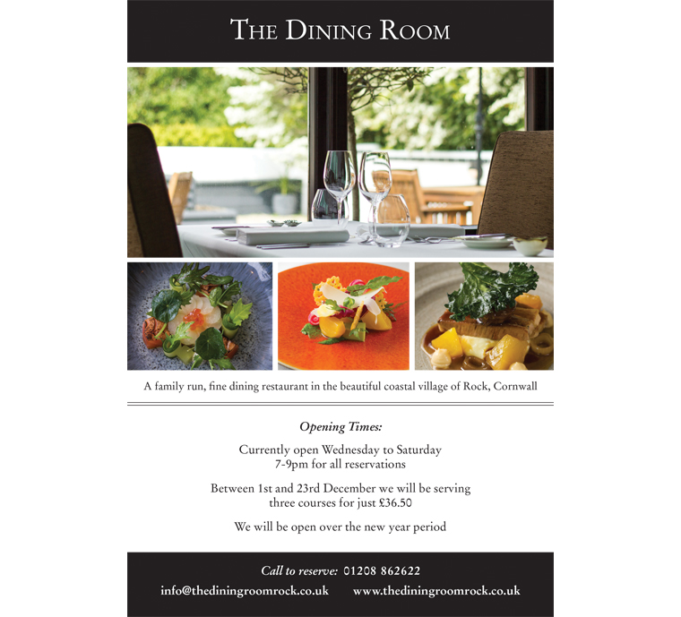 The Dining Room restaurant Rock advert by Pickle Design