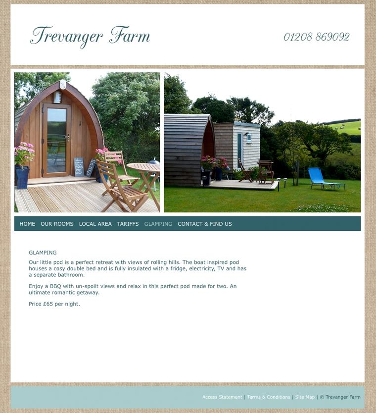 Travanger Farm glamping website