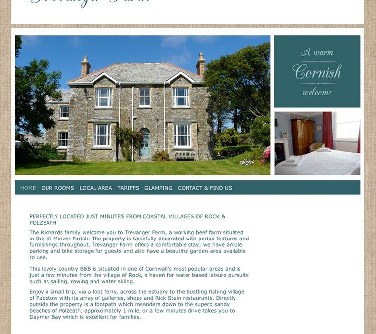 Trevanger Farm bed and breakfast website