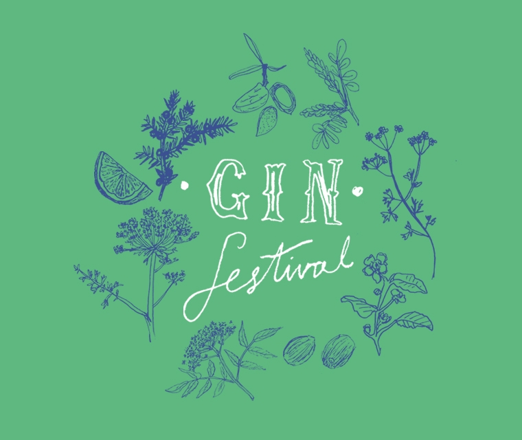 The brand Pickle Design created with illustration in blue and green for Wadebridge Wine's gin festival