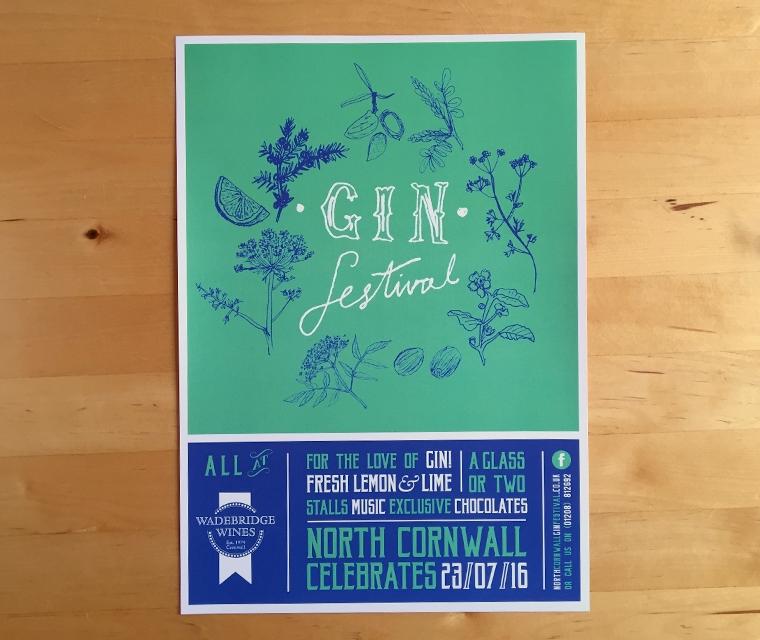 Wadebridge Wines Gin Festival poster by pickle design