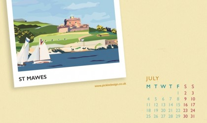Pickle Design's calendar download for July - St Mawes, Cornwall