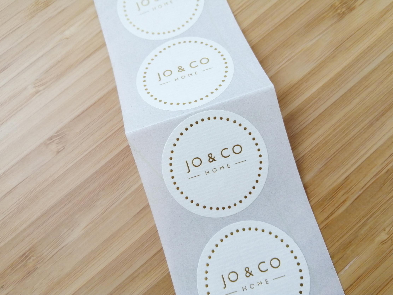 Jo & Co gold foil stickers