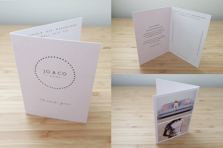 Receipt card for Jo and Co Home A6 folded