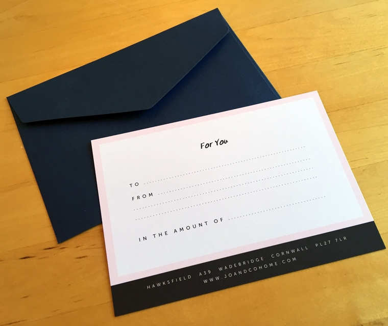 Jo & Co gift card with envelope