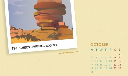 Pickle Design's October calendar of the Cheesewring, Bodmin moor, download here