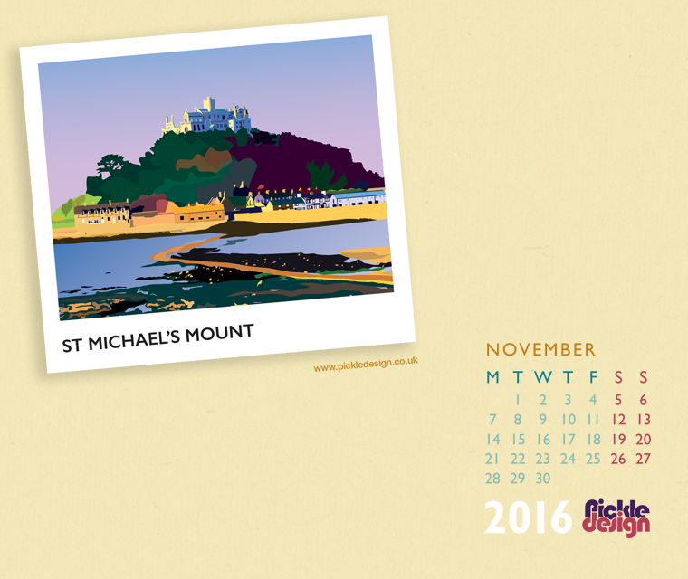 St Micheal's Mount illustrated by Pickle design for the November calendar free download
