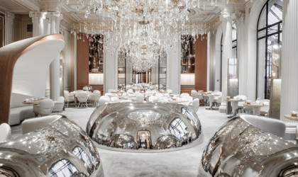 Futuristic and classically french hotel interior