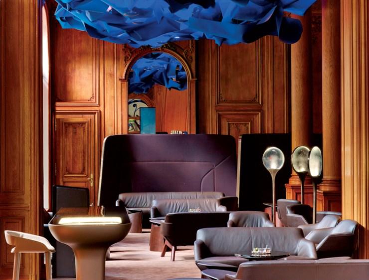 Futuristic and classically french hotel interior