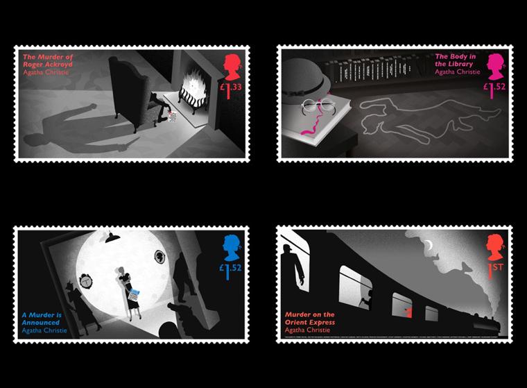 stamps designed to celebrate Agatha Christie