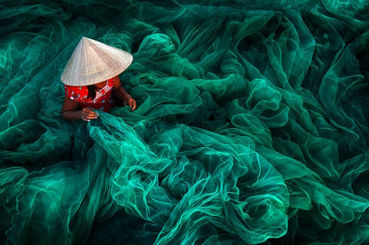 Siena International Photography Awards making fishing nets, intense green