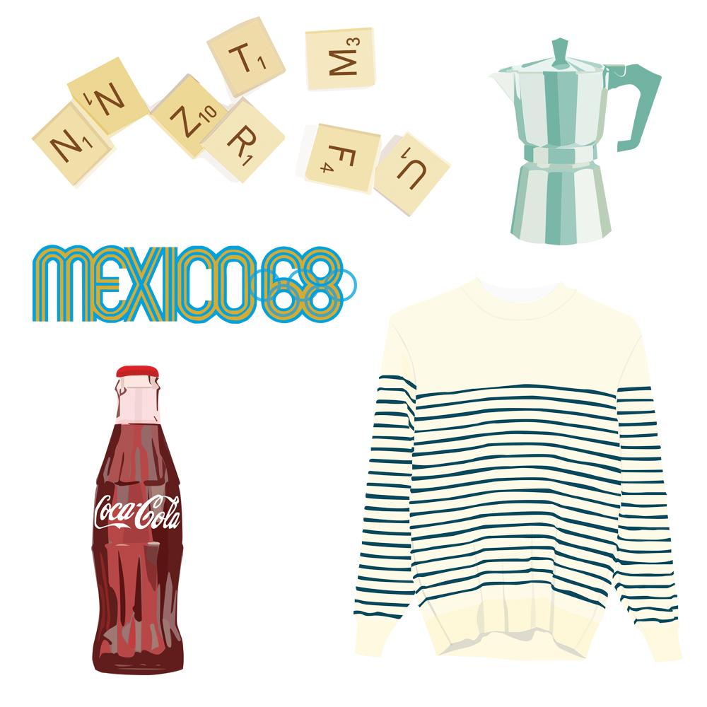 Pickle Design design classics of Scrabble, the Moko Pot, the Mexico olympic logo, the Breton top and the Coca-Cola bottle