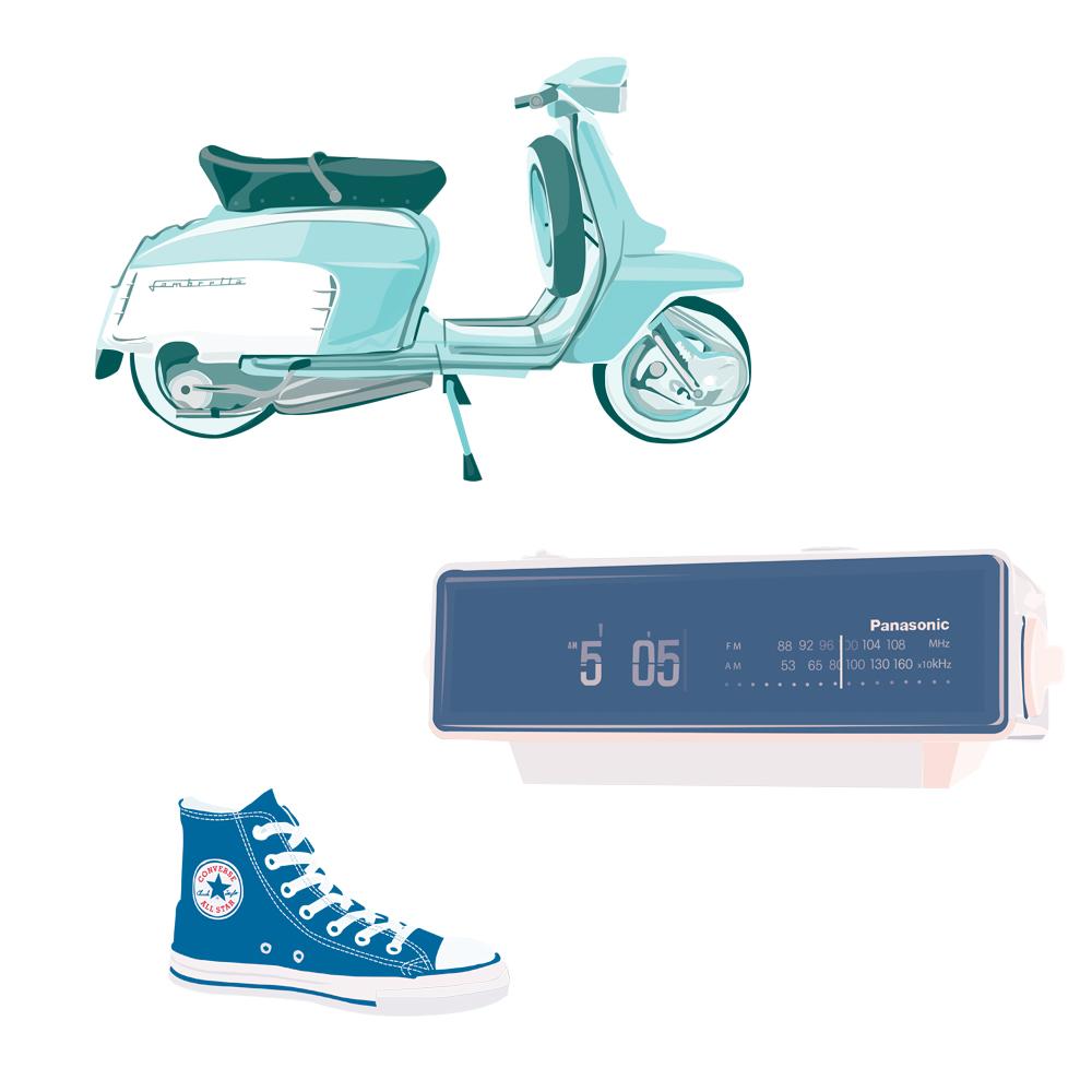 Pickle Design design classics the Lambretta scooter, Panassonic clock, and Converse trainer