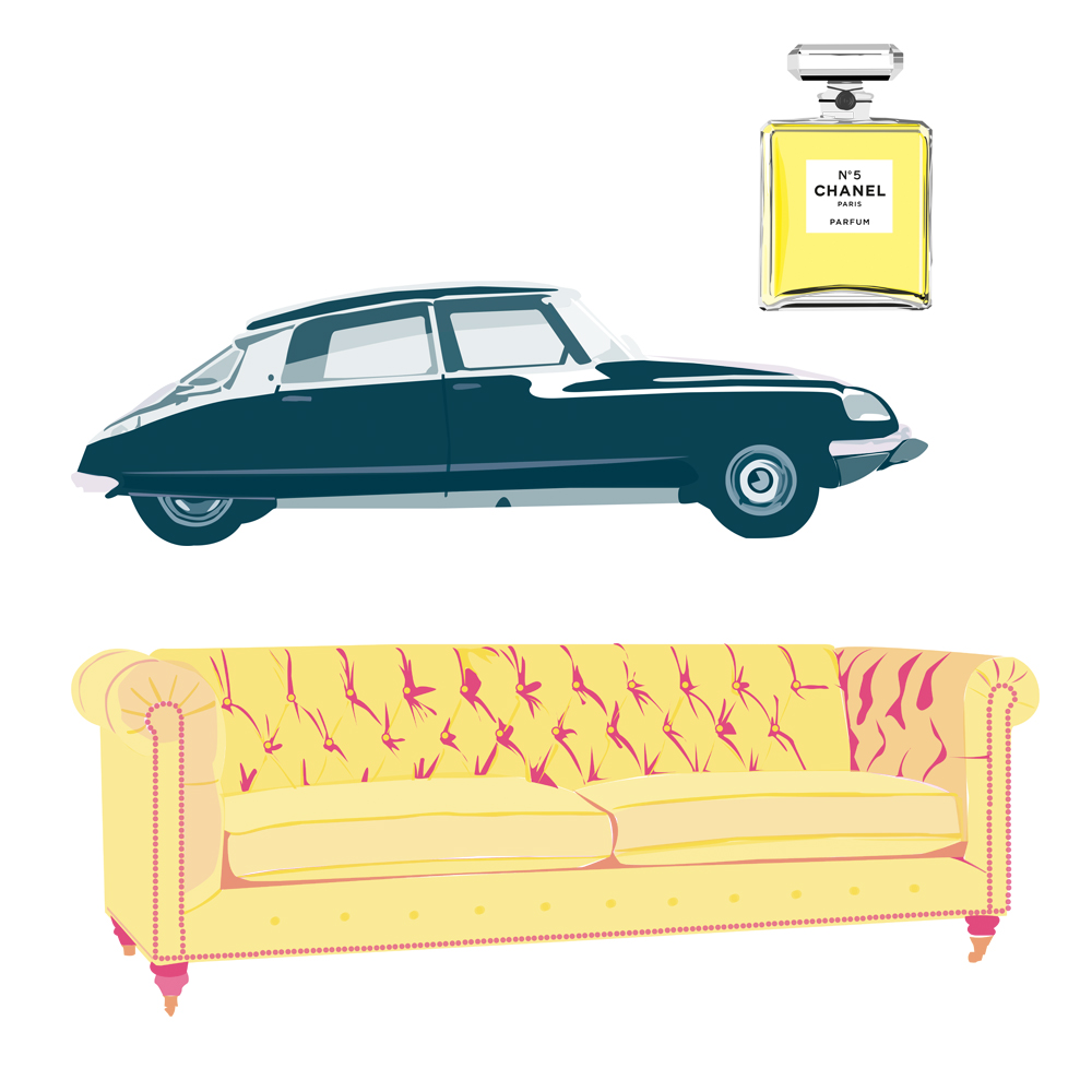 Pickle Design's design classics of the Chanel number 5 perfume, the Citroen DS and the Chesterfield sofa
