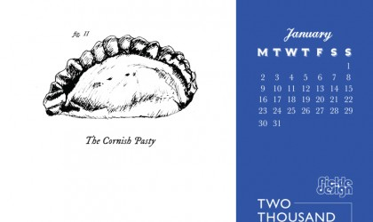 The Pickle Design January 2017 calendar of Cornish crib featuring the pasty
