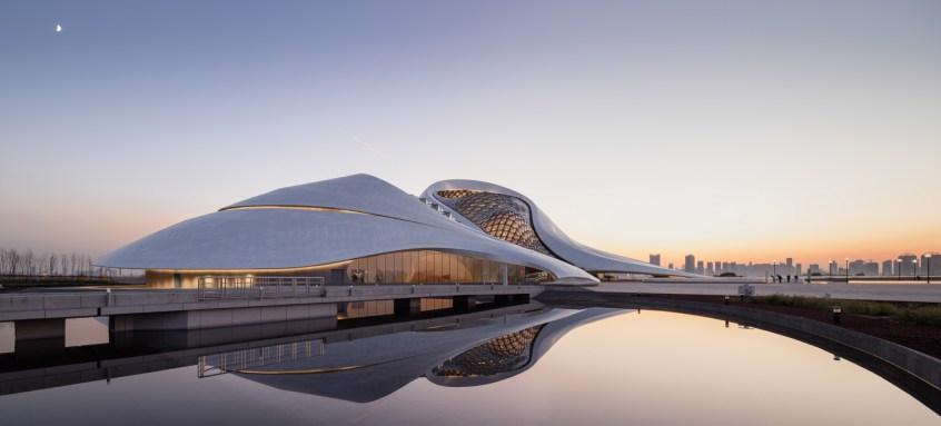 Exterior photograph of Harbin Opera house at dusk