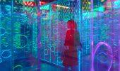 Rainbow labyrinth art installation in China