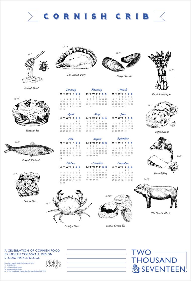 Hand illustrated poster calendar celebrating Cornish food