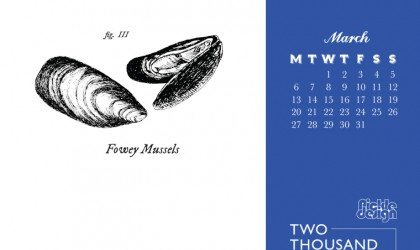 Download your March 2017 calendar of Cornish food featuring Fowey Mussels
