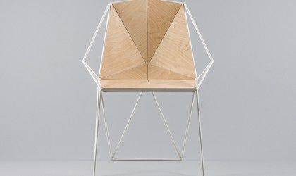 Angular plywood and white metal chair