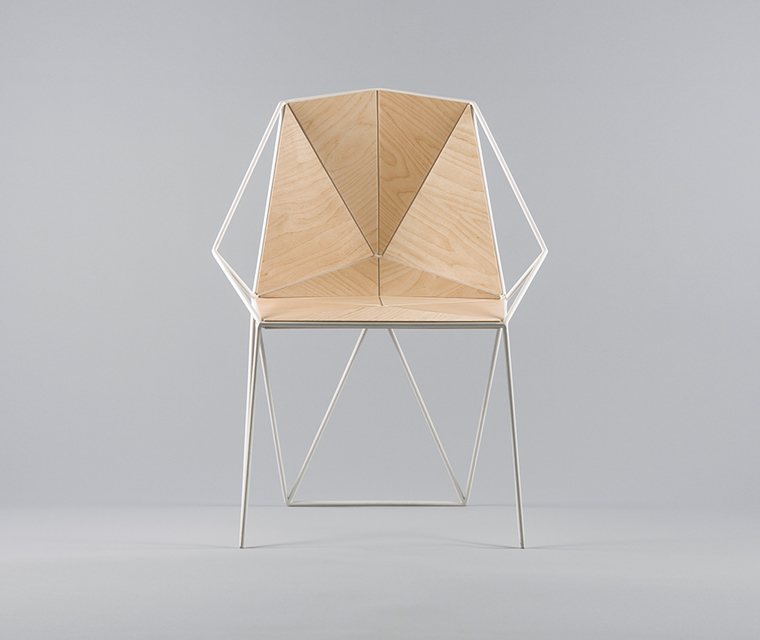 Angular plywood and white metal chair