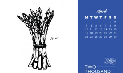 Asparagus illustrated in engraving style for the Pickle Design April calendar download