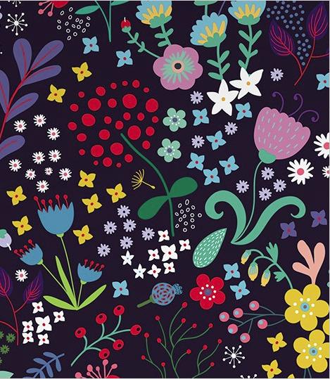 Folksy floral wallpaper dark
